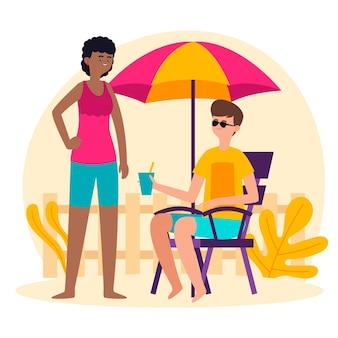 Pessoas desfrutando staycation com bebidas e guarda-chuva