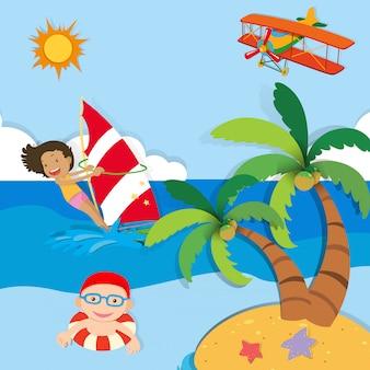 Pessoas, desfrutando, verão, mar