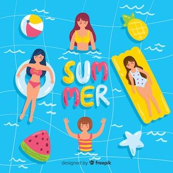 Pessoas, desfrutando, verão, praia