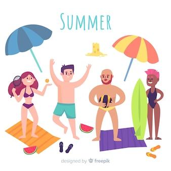 Pessoas, desfrutando, verão