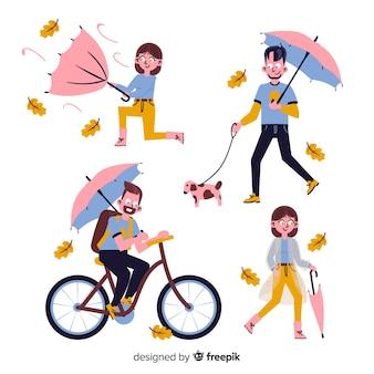 Pessoas diferentes andando no outono