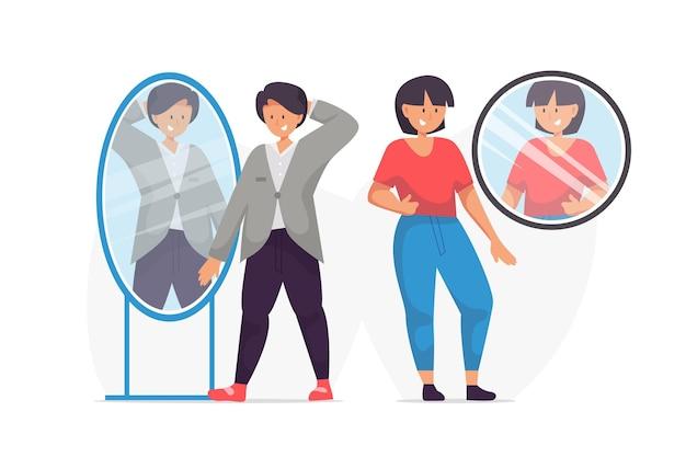 Pessoas diferentes com alta auto-estima