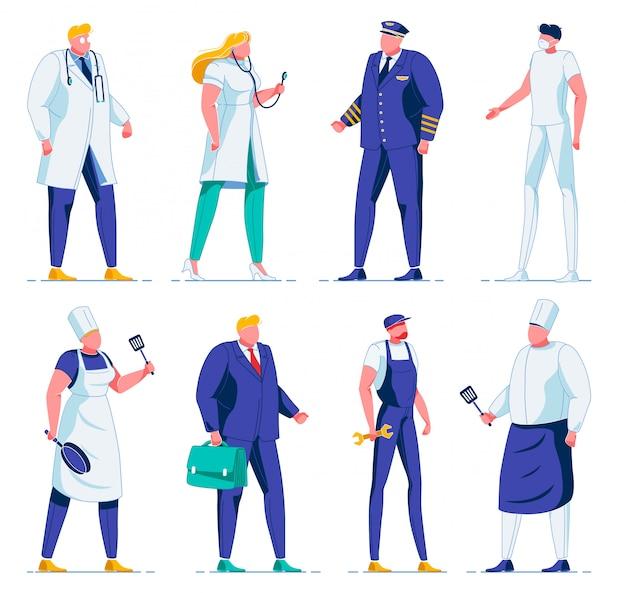 Pessoas diferentes em uniforme, piloto, chef, médico.