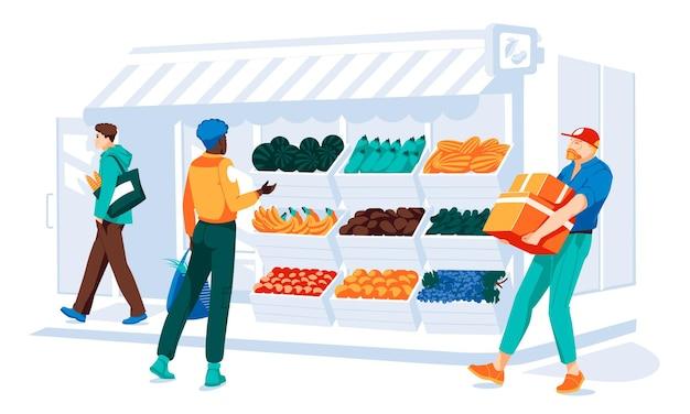 Pessoas diferentes fazendo compras em frente ao supermercado com janela e porta facad de madeira e tijolo