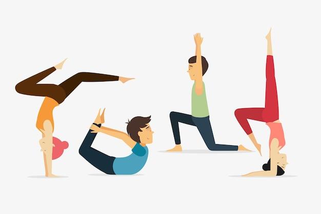 Pessoas diferentes, fazendo ioga