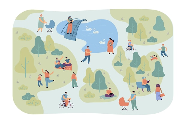 Pessoas diferentes felizes caminhando na ilustração plana do parque da cidade