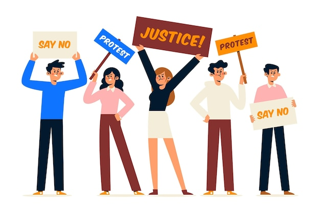 Pessoas diferentes ilustradas que participam de um protesto