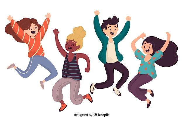 Pessoas diferentes pulando juntos