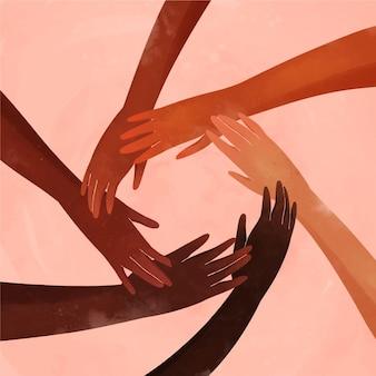 Pessoas diferentes se juntando ao movimento de parar o racismo