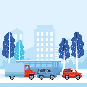 Pessoas dirigindo carros e ônibus