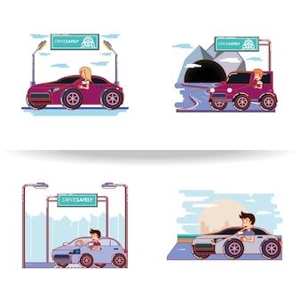 Pessoas dirigindo com ícones de motorista com segurança