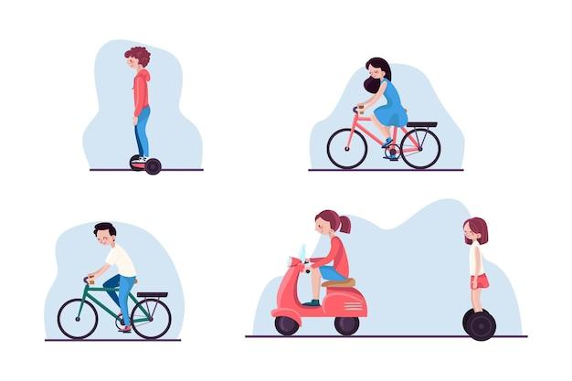 Pessoas dirigindo conjunto de transporte elétrico