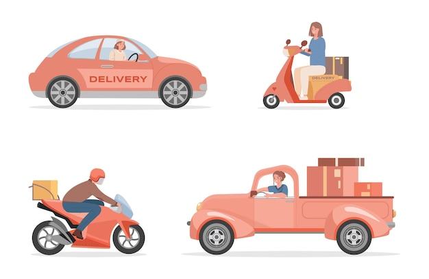 Pessoas dirigindo diferentes máquinas ilustração plana isolada no branco