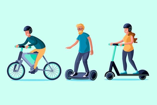 Pessoas dirigindo métodos de transporte elétrico