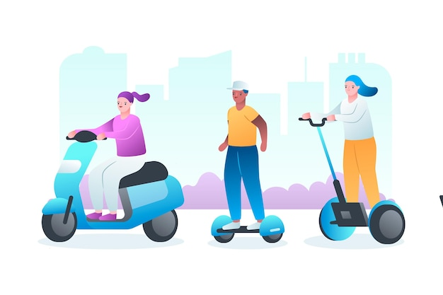 Pessoas dirigindo o conceito de transporte elétrico