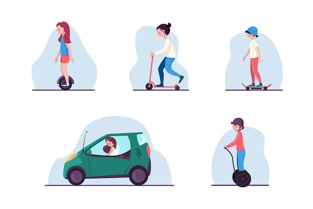 Pessoas dirigindo pacote de transporte elétrico