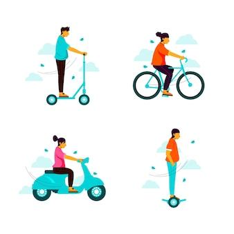 Pessoas dirigindo seu transporte pessoal elétrico