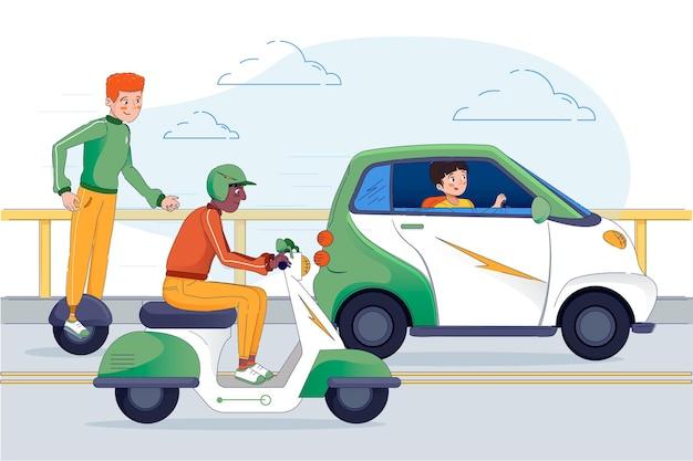Pessoas dirigindo transporte elétrico moderno