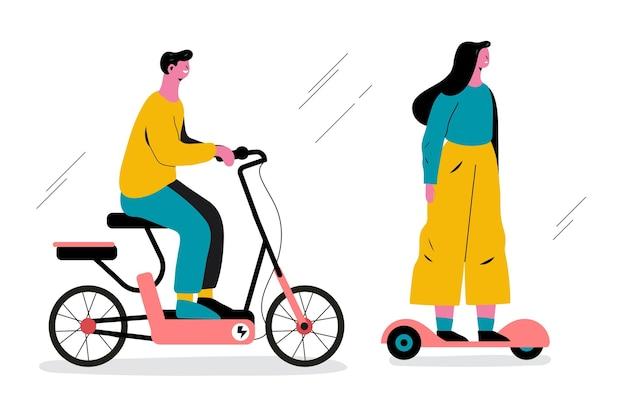 Pessoas dirigindo transporte elétrico