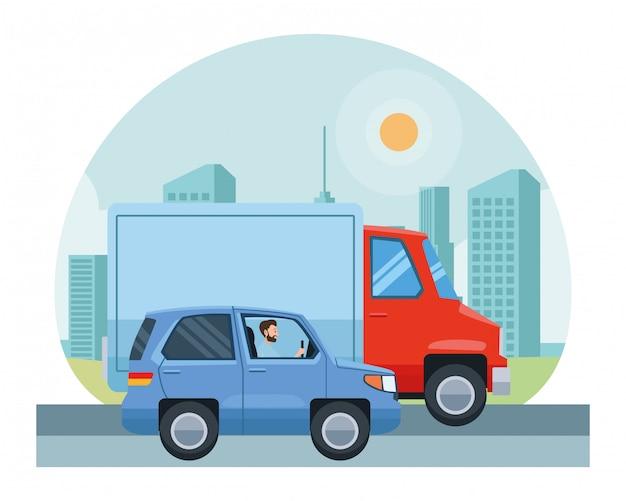 Pessoas dirigindo veículos no trânsito