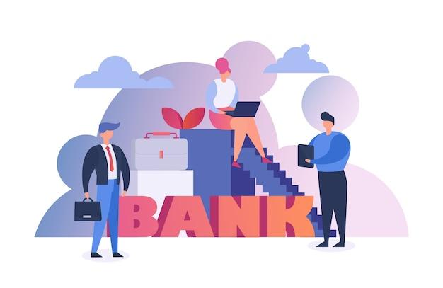 Pessoas do banco ganhando dinheiro, finanças e conceito de economia plana