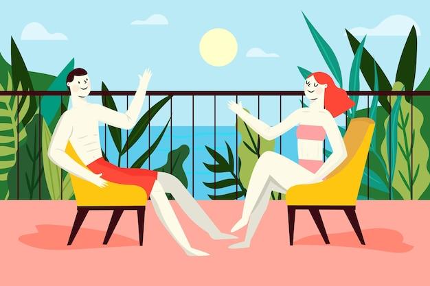 Pessoas do conceito staycation, aproveitando um dia com sol