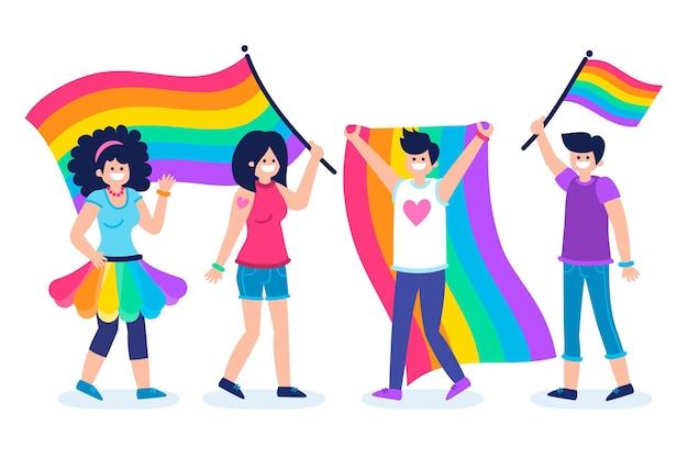 Pessoas do dia do orgulho com bandeiras do arco-íris