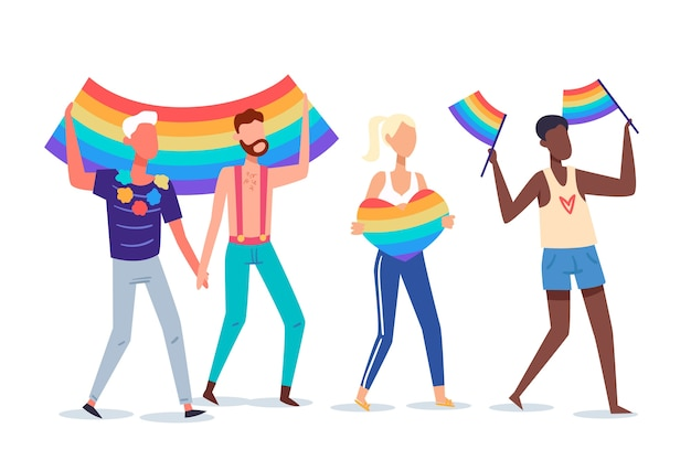 Pessoas do dia do orgulho com bandeiras