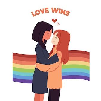 Pessoas do dia do orgulho com mulheres
