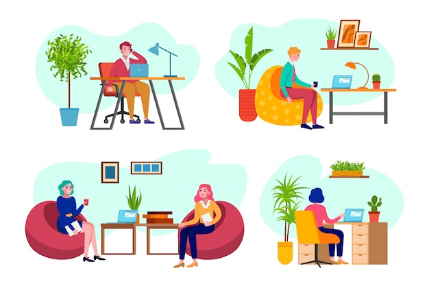 Pessoas do escritório, negócios no trabalho, homem e mulher trabalhando no programador de computador, análise de negócios, estratégia um conjunto de ilustrações. reunião de negócios no escritório, empresa.