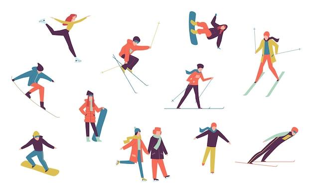 Pessoas do esporte de inverno. incluindo elementos isolados de patinador no gelo, snowboarder e esquiador. conjunto de atividades de snowboard nas férias extremas de inverno