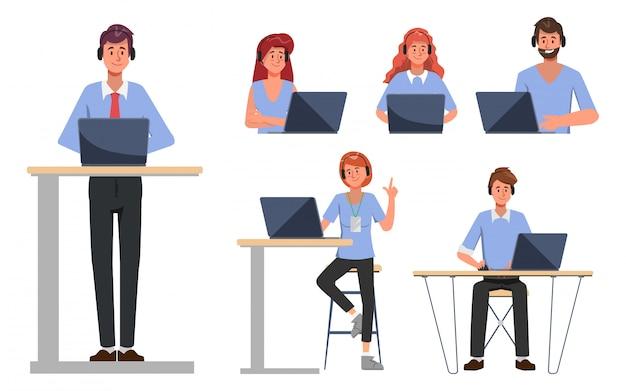 Pessoas do grupo de call center e caráter de suporte de serviço ao cliente