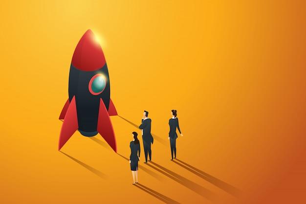 Pessoas do grupo de negócios de inicialização em pé vista para um foguete, conceito isométrico. ilustração
