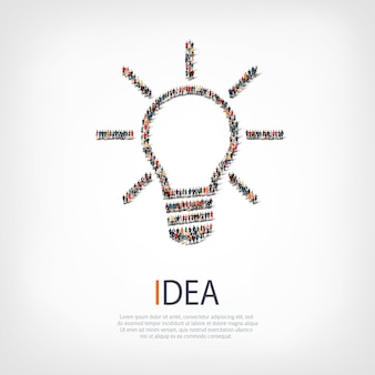 Pessoas do grupo formam a ideia da lâmpada