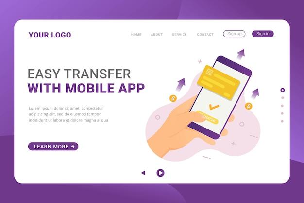 Pessoas do modelo de página de destino enviando dinheiro com pagamento de aplicativo móvel