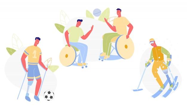 Pessoas do sexo masculino com deficiência fazendo desporto plano.