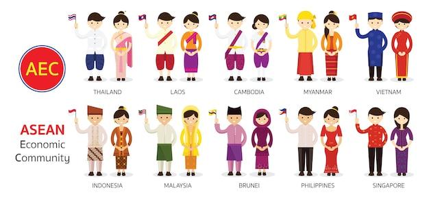 Pessoas do sudeste asiático em roupas tradicionais