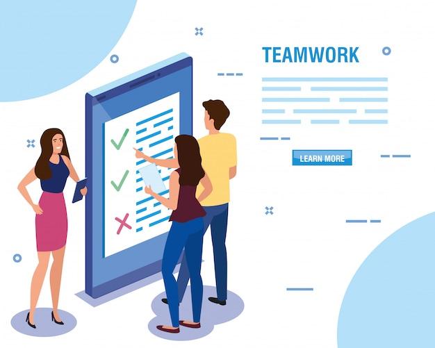 Pessoas do trabalho em equipe com modelo de dispositivo de smartphone