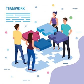 Pessoas do trabalho em equipe com modelo de peças de quebra-cabeça