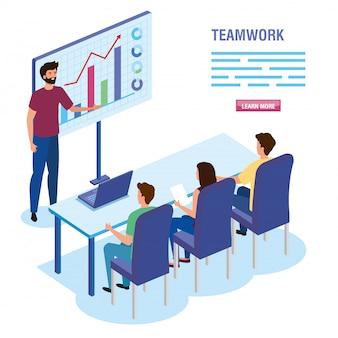 Pessoas do trabalho em equipe na reunião de modelo de personagem de avatar