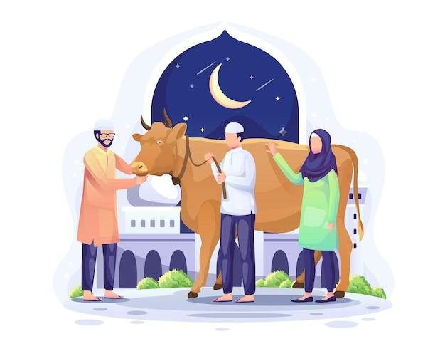 Pessoas doam uma vaca para ser sacrificada ou qurban na ilustração de eid al adha mubarak