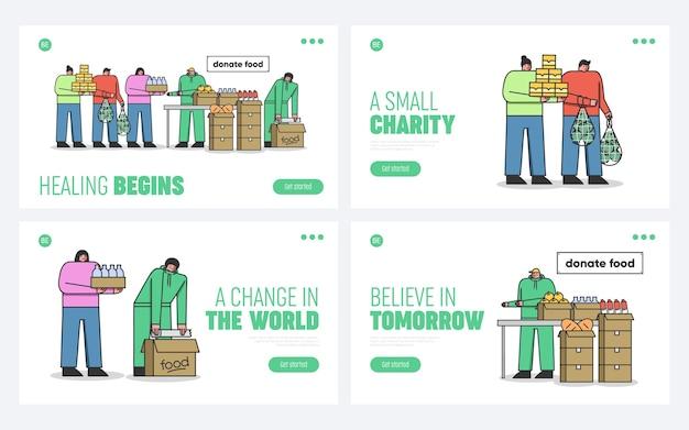 Pessoas doando alimentos voluntariamente