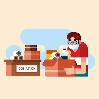 Pessoas doando material sanitário
