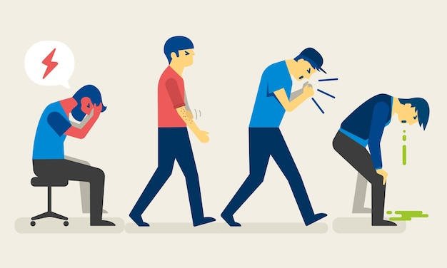 Pessoas doentes com ilustração de sintomas diferentes.