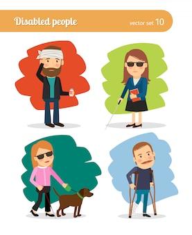 Pessoas doentes e pessoas com deficiência em estilo cartoon
