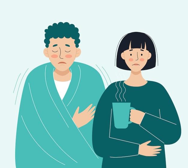 Pessoas doentes vírus dor de cabeça febre tosse coriza o conceito de doenças virais