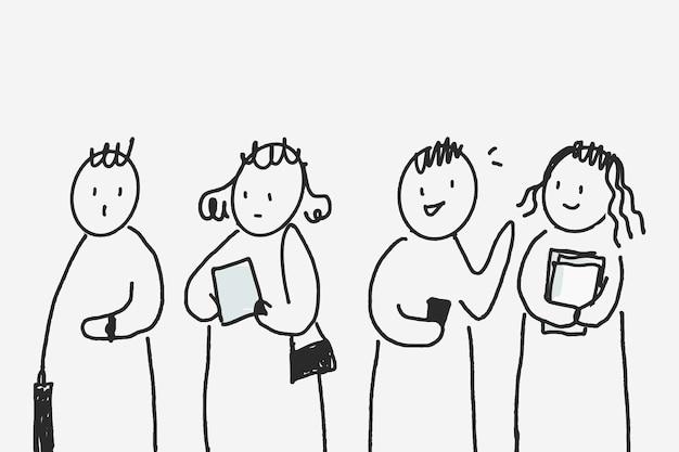 Pessoas doodle vetor esperando em caracteres de linha