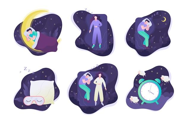 Pessoas dormem definidas. a pessoa repousa na cama sobre o travesseiro.
