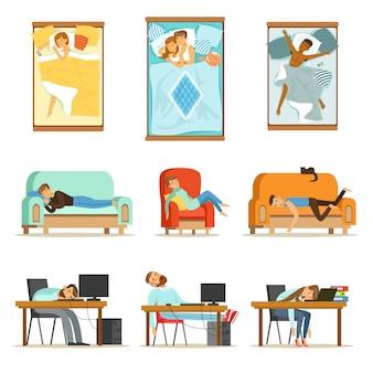 Pessoas dormindo em posições diferentes em casa e no trabalho