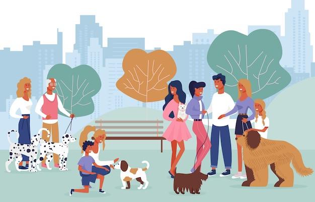 Pessoas dos desenhos animados, brincando com cães na caminhada no parque